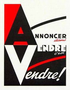 1958 Ad Annoncer Vendre A V Bold Graphic Red Black Contrast Typography VEN1