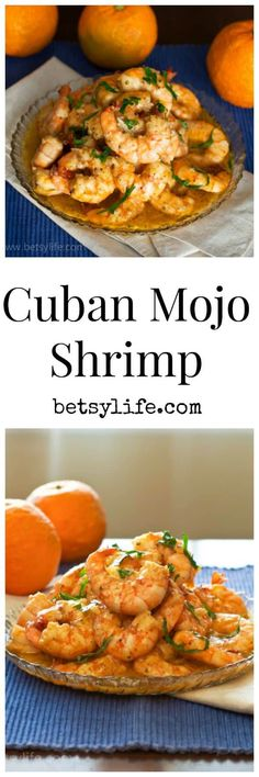 These Light and Healthy Cuban Mojo Shrimp are bursting with bright citrus flavor and would be perfect on tacos or salad! This gluten-free recipe is made with olive oil and Seville oranges and a tangy garlicky sauce. It will get you out of a meal planning rut! #bestylife #cubanmojoshrimp #healthyrecipes #sevilleoranges #glutenfreerecipes