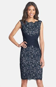 Comes in other colors, the blush/off white is pretty Tadashi Shoji Crisscross Waist Lace Sheath Dress (Regular & Petite) available at #Nordstrom