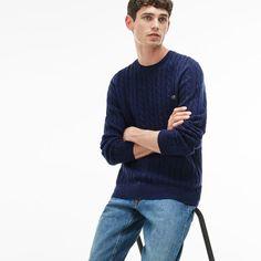 391b309a46 Lacoste Men s Crew Neck Wool Cable Knit Effect Sweater Cartoon Boy