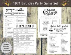 1971 50th Birthday Party Game Set Born in 1971 Birthday | Etsy