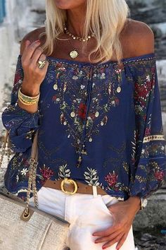 Short Sleeve Boho Blouse Flower Pattern Regular Fit Bohemian Blouse Stretchy Airy Top Charming Floral Print Elastic Summer Blouse S