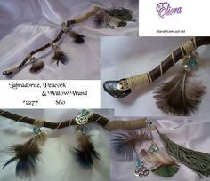 Labradorite, Peacock and Willow Wand  -- No.2277 - S Included. $60.00, via Etsy.