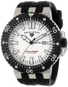 Relógio Swiss Legend Men's 10126-02S-BB Challenger White Textured Dial Black Silicone Watch #Relogio #SwissLegend