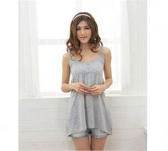 LOVE this one~~~ $7.30  Elegant Pure Color Button Embellished Gallus Vest Grey
