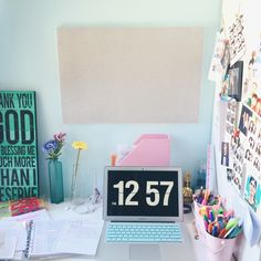 """notebooksandsharpiesaddict: """" my study space! i really love to be in here, it's calming. thinking to get more things on the wall! 💗 """""""