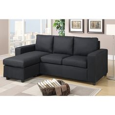 Charmant Reversible Sectional Sofa Design Is Featured In This Modern Sectional  Perfect For An Den Or Office Space. Available In Black, Gray, Carmine  Linen Textured ...