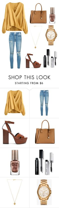 """"" by khushpat ❤ liked on Polyvore featuring Mother, Yves Saint Laurent, MICHAEL Michael Kors, Barry M, Bobbi Brown Cosmetics, Vanessa Mooney and Michael Kors"