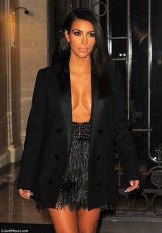 Kim Kardashian appears topless under open tuxedo jacket as daring dress fails to contain her famous assets | Daily Mail Online