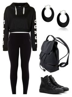 """""""Black On Black"""" by trilllexiii ❤ liked on Polyvore featuring Topshop, New Look, Converse and Bling Jewelry"""