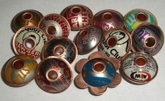 How To Make Bottle Cap Beads - Painting with Fire by Mercedes Dillet Recycled Jewelry, Metal Jewelry, Beaded Jewelry, Handmade Jewelry, Coin Jewelry, Jewellery, Metal Beads, Bottle Cap Art, Bottle Cap Crafts