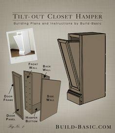 Tilt-Out Closet Hamper – Part of The Build Basic Closet System –Building Plans by @BuildBasic www.build-basic.com