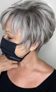 Short Hair Over 60, Short Hair Older Women, Short Hair With Layers, Short Silver Hair, Short Grey Hair, Short Shag Hairstyles, Mom Hairstyles, Grey Hair Don't Care, Medium Hair Styles
