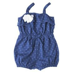 Genuine Kids from OshKosh ™ Newborn Girls' Polka Dot Romper - Blue-Target