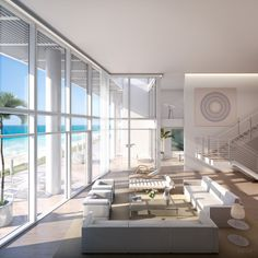 One of the Surf Club penthouses, designed by Richard Meier with interiors by Lee Mindel. The property will be a Four Seasons Residences and Hotel, just north of Miami Beach.