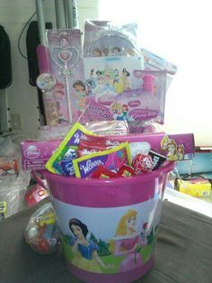 Business Wishes, Easter Baskets For Toddlers, Girl Gift Baskets, Little Girl Gifts, Disney Crafts, Candy Buffet, Holiday Desserts, Easter Ideas, Holidays And Events
