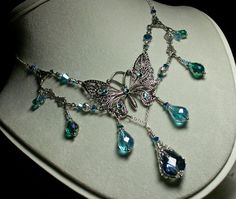 Peacock Blue Green Crystal Silver Butterfly Necklace