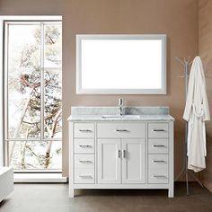 Studio Bathe Kalize 48 White Single Vanity with Mirror Bjs Wholesale, Bathroom Ensembles, Kitchen Bath Collection, Single Sink Bathroom Vanity, Bathroom Renos, Bathroom Ideas, Vanity Set With Mirror, Modern Vanity, Bathroom Essentials