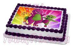 "Rainbow Purple Barney 7.5""x10"" Edible Image Cake Topper | eBay"