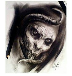 Evil Tattoos, Scary Tattoos, Wicked Tattoos, Skull Tattoos, Anime Drawings Sketches, Tattoo Sketches, Tattoo Drawings, Tatoo Designs, Skull Tattoo Design