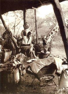 Adventurer and wildlife photographer Peter Beard in Kenya