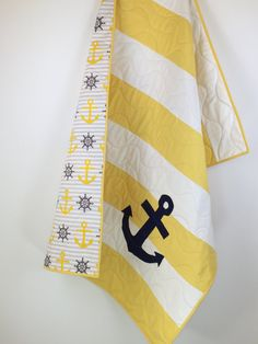 Yellow Nautical Baby Quilts nautical baby by BabyQuiltsbyRomiW