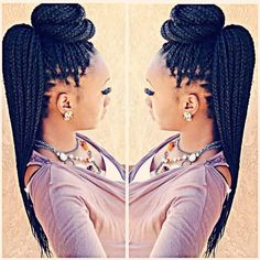 Natural hair glory. - Styled box braids Follow for more styles...