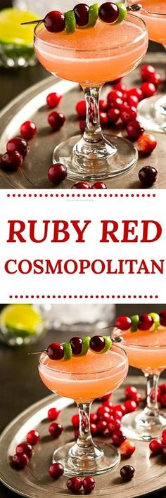 Sweet, tart and not too boozy, this easy vodka Ruby Red Cosmopolitan cocktail recipe is just right for a holiday or winter party. #cocktails #holidaycocktails #vodka #cosmopolitan