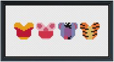 Mouse Ears Pooh and Friends Cross Stitch Pattern .PDF - Instant Download Disney Mouse Ears, Minnie Mouse, Perler Bead Art, Perler Beads, Art Patterns, Beading Patterns, Cute Pattern, Pattern Art, Cross Stitch Designs