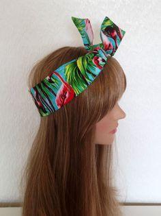 Pink Flamingo Rockabilly Pin Up 50s Style Wire Headband Headscarf Hair Wrap