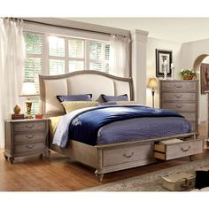 Designed To Mimic A Stone Grey Finish, This Rustic Bedroom Set Offers Both  Style And Convenience. The Headboard Features An Exquisite Upholstered  Design, ...