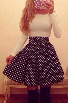 Cute Long Sleeve Polka dots Dress