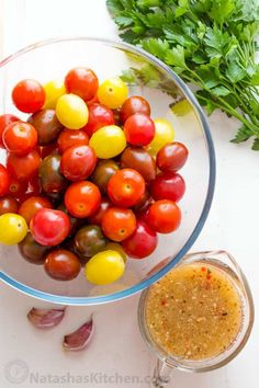 Marinated cherry tomatoes are a colorful, juicy and tasty side dish that is perfect for summer parties, buffets and large gatherings because it can be made hours in advance. This is one of our favorite cherry tomato recipes! Italian marinated tomatoes with just 4 ingredients! | natashaskitchen.com Marinated Cherry Tomatoes Recipe, Cherry Tomato Recipes, Cherry Tomato Salad, Marinated Vegetables, Canning Vegetables, Carrot Recipes, Fruit Recipes, Vegetable Recipes, Vegetarian Recipes