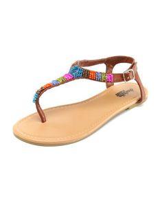 Charlotte Russe - Multi Beaded T-Strap Sandal