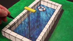 See a simple way to draw an anamorphic illusion drawing of a swimming pool in this short YouTube art tutorial drawing!