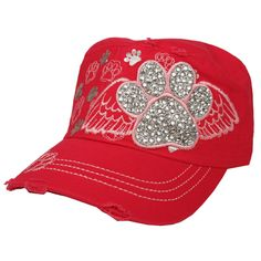 c6fcdb60 Hot Pink Embroidered/Rhinestone PAW PRINT Cadet Cap Distressed cadet hat  wtih print, fabric, embroidery and stones