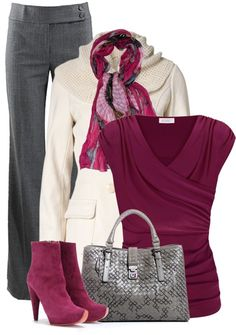 """Purple, White, and Grey"" by fashion-766 on Polyvore"
