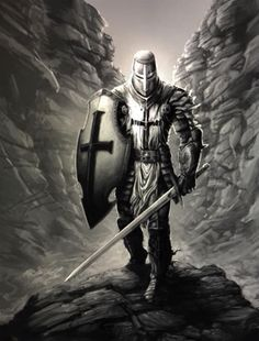 m Paladin Plate Armor Helm Shield Sword rough mountain canyon Guerreiro Templar Knight Tattoo, Crusader Knight, Christian Warrior, Armadura Medieval, Warrior Tattoos, Angel Warrior, Knight Art, Templer, Armor Of God