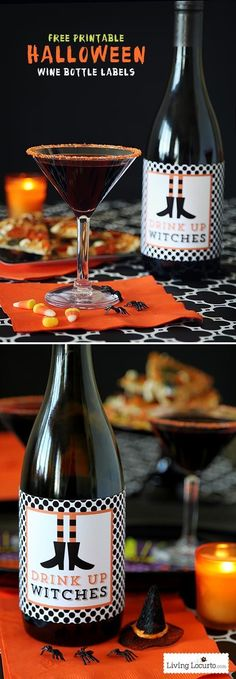 Simple Halloween Party Ideas with funny Free Printable Wine Bottle Labels! Drink Up Witches. by /livinglocurto/