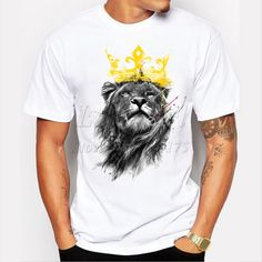 men's lastest 2016 fashion short sleeve king of lion printed t-shirt funny tee shirts Hipster O-neck cool tops