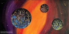 Wall Sculpture Planets, Heavy Textured, Livin/Bedroom Deco,Night Sky  (clay relief & canvas painting), FREE Shipping for US and Canada