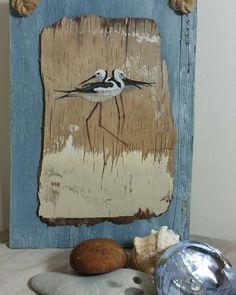 #painting on #driftwood of#stilts #coastalstyle #wadingbirds #blues #beachfinds #beachcombing.