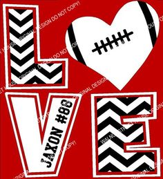 Football Chevron LOVE T-Shirt, Football Mom Shirt, Football Love Shirt, ORIGINAL DESIGN by The Walnut Street House on Etsy, $23.00
