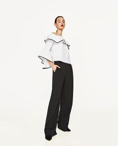 ZARA - WOMAN - POPLIN TOP WITH FRILLED SLEEVES