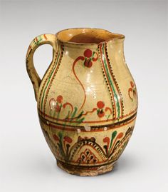 "Pitcher, Alamance County, North Carolina, 1790-1820. Lead-glazed earthenware.  H. 10 1/2"".  (The Henry Ford.) --- Art in Clay: Masterworks of North Carolina Earthenware by Old Salem Museums and Gardens, Chipstone Foundation, and Caxambas Foundation."