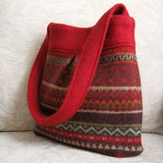 red Bella felted wool handbag | by FeltSewGood