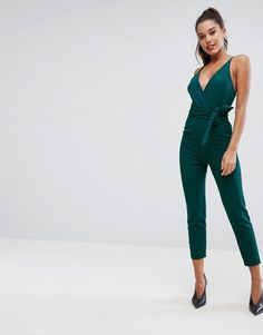bd3ee505a1 ASOS Wrap Front Jumpsuit with Peg leg and Self Belt - Green Long Jumpsuits