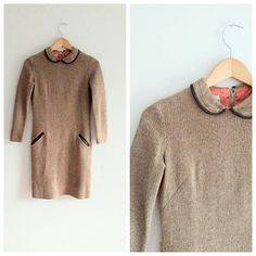 43eb96c5f73 Vintage 1960s 60s Brown Wool Knit Mini Dress Peter Pan Collar Bobbie Brooks