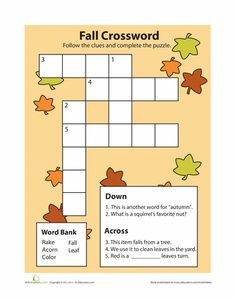 Halloween - Worksheets: Fall Crossword