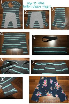 How to make baby harem pants from an old T-shirt! Wie man aus einem alten T-Shirt eine Baby-Haremshose macht! Sewing Kids Clothes, Baby Kids Clothes, Sewing For Kids, Diy Clothes, Sewing Pants, Free Sewing, Baby Patterns, Sewing Patterns, Boys Harem Pants